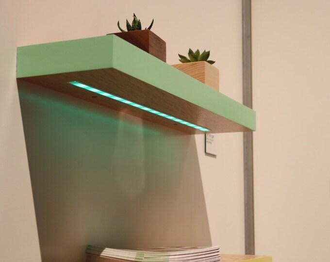 Featured listing image: Floating Shelf with Lights - white Oak -COLOR - Modern Shelves - Wall Shelf - Book Shelf - Wood Shelf