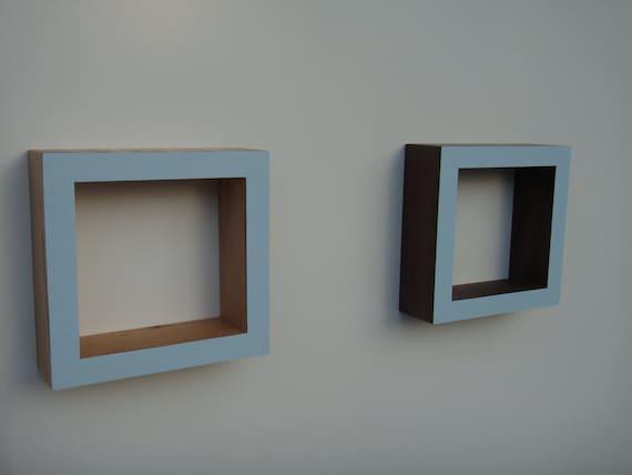 Shadow Box Frame - Wall shadow box - Oak or Walnut -Ocean blue                               .