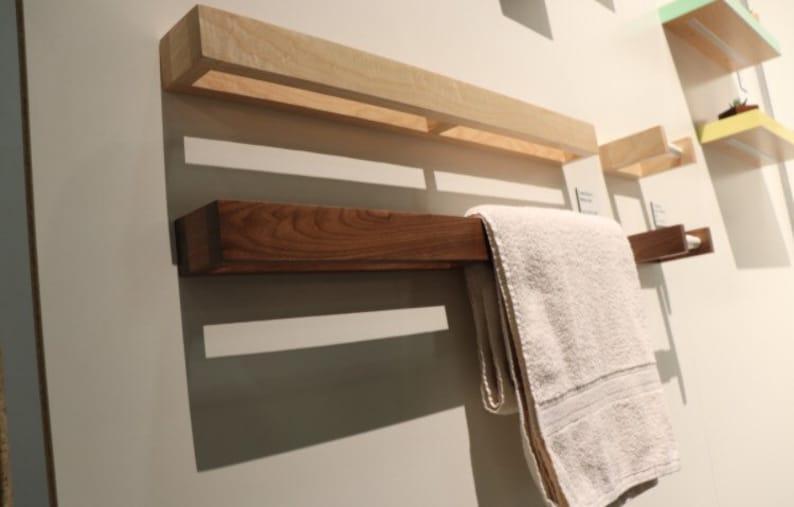 Towel Rack  Walnut  Modern Towel Bar  Wall Rack  Easy image 0