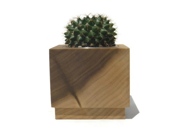 Succulent planter - Poplar Handmade Planter with a natural finish, for birthday and wedding, wood planter.