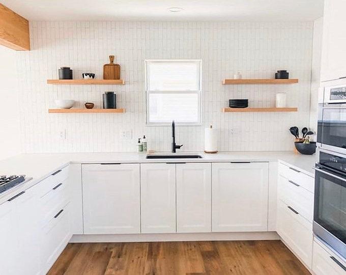 Featured listing image: Wall Shelf,Wood Floating Kitchen Shelf,Floating Shelf,Wooden shelves,Custom cut Sizes,Floating Nightstand,Farmhouse Decor, Oak Veneer
