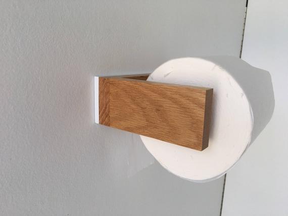 Toilet Paper Holder - Oak - White - Modern Toilet Paper Holder