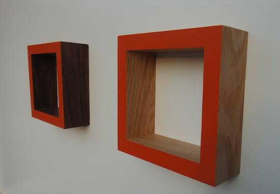 Shadow Box Frame - Wall shadow box - Oak or Walnut -Orange                              .
