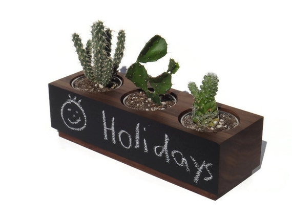 Succulent planter - Walnut Handmade Planter - Front chalkboard with a natural finish, for birthday and wedding, wood planter.