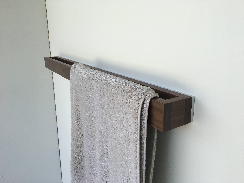 Bathroom Towel Rack Walnut White Backplate Modern Towel Rack