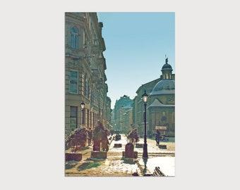 European fine art old architecture, European interior idea wall decor, Ancient winter city street, Canvas quality 8x12 12x18 16x24 24x36