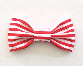 Red White Candy Cane Stripes // Valentine's Day Bow // Boy Bow Tie // Hair Bow for Girls // Clip On Bow Tie or Hair Clip