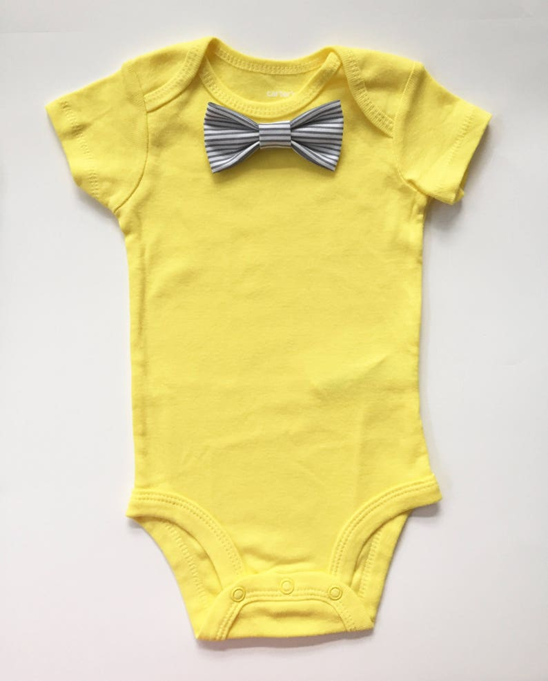 Solid Bright YELLOW Short Sleeve Bodysuit w Choice of Snap On Bowtie Summer Baby Gift  Baby Boy Clothes Baby Shower Decor