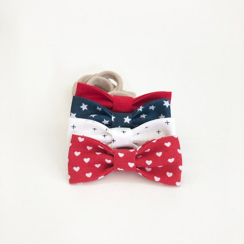 NEW Patriotic Stars and Hearts  MINI Girls Hair Bows  Set of image 0
