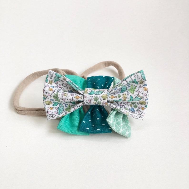 NEW Mint PurrMaid Bow /MerCat Kids Bow / Girl's Hair Bow / image 0