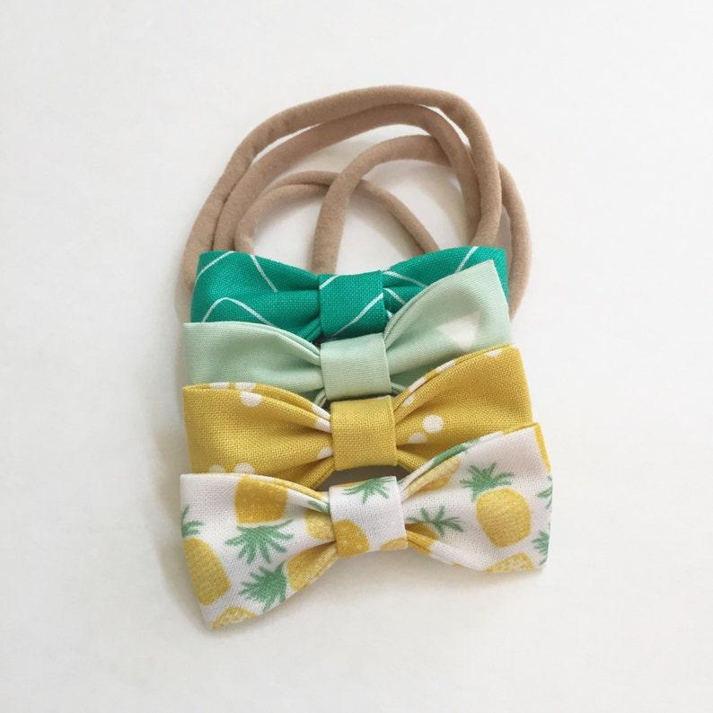 4bcbf895cd39 Pineapple MINI Girls Hair Bows Set of 4/ Summer Hair Bows | Etsy