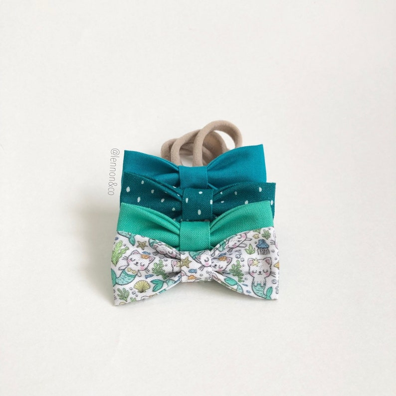Toddler Bows. NEW Mint PurrMaid SMALL Girls Hair Bows NB Set of 4  Under the Sea Party  PurrMaid Birthday  MerCat Party