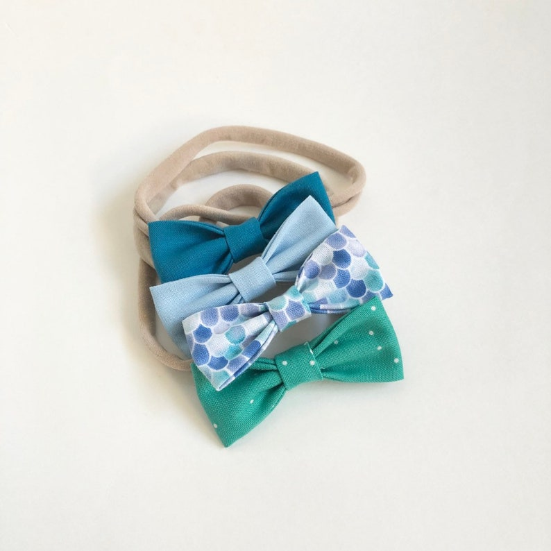 NEW Under the Sea SMALL Girls Hair Bows  Set of 4 / Under the image 0
