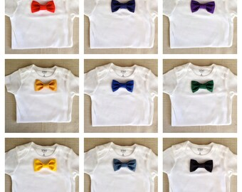 Solid Colored Baby Bow Tie BodySuit and Snap-On Bowtie: 1 Bodysuit +1 Bowtie ONLY! Pick your Color! 20 Diff. Colors to Choose!