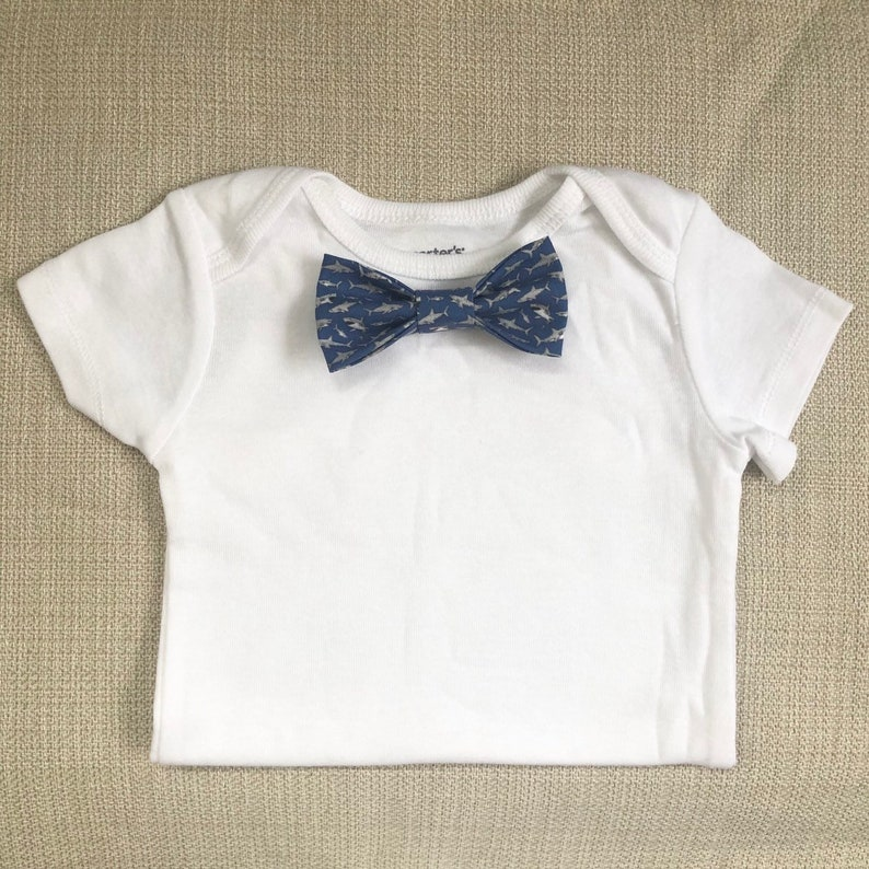 NEW Hungry Shark. Baby Shark Bow Tie BodySuit w/ Snap-On image 0