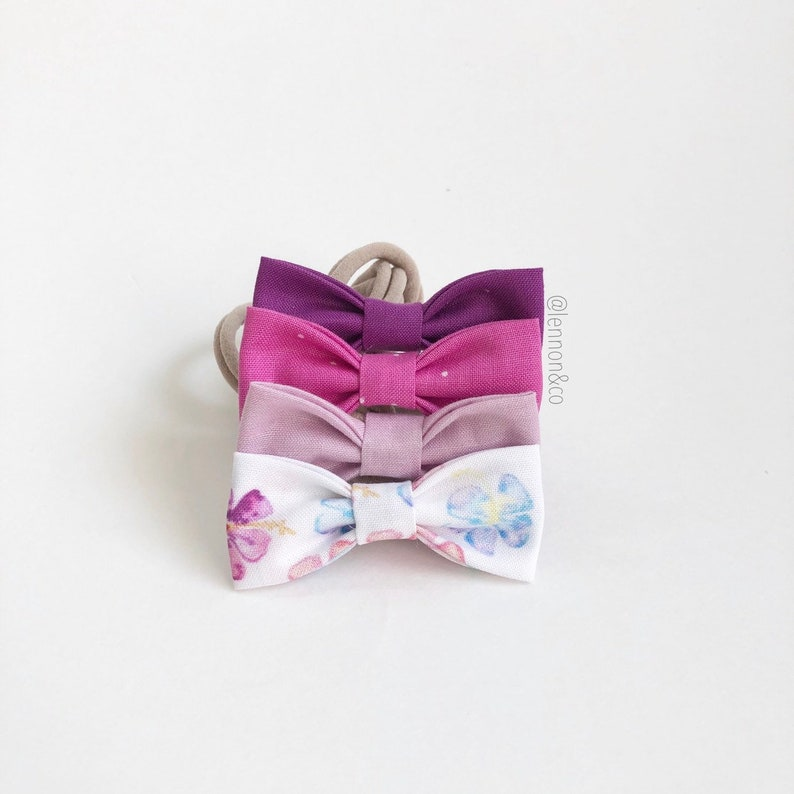 NEW Hibiscus Bunch MINI Girls Hair Bows  Set of 4  / Hibiscus image 0