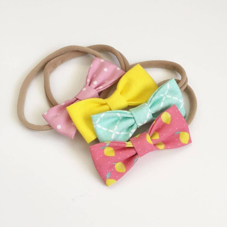Set of Four Pink Lemonade SMALL Girl Bows 4 Girls Bows  Pink Lemonade Party  Lemonade Stand  Birthday Party  Summer Bow