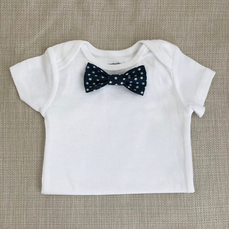Patriotic Blue Starts   Baby Bow Tie BodySuit w/ Snap-On image 0