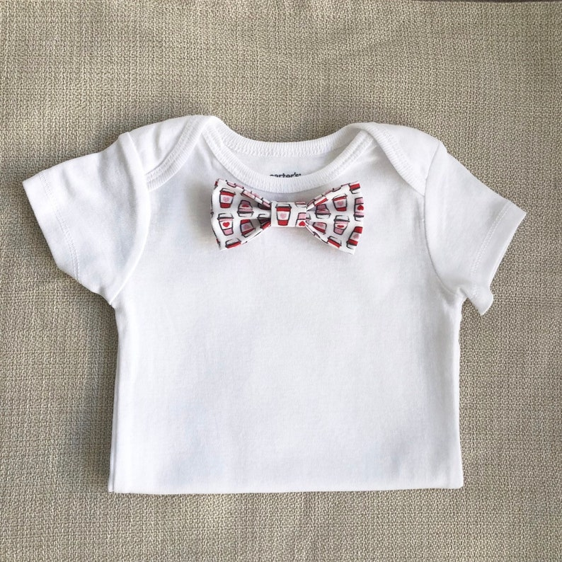 NEW I love you a Latte Baby Bow Tie BdySt w Snap-On Bowtie Baby Outfit  1st Bday Party Valentine/'s Day Outfit 1 Bowtie ONLY 1 Bdyst