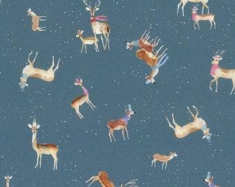 18,90 EUR/Meter Westfalenstoffe Kitzbühel Rehe blau, digital print, 0,5 m cotton Woven fabric