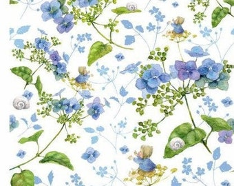 20 EUR/meter acufactum 31 cm REST fabric hydrangea dream blue, weaving cotton