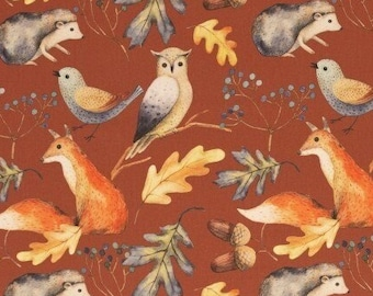 9,50 EUR/Meter Cotton Weaving Happy Harvest, Forest Animals Rust Brown 0.5 m by Swafing