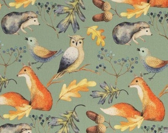 9,50 EUR/Meter Cotton Weaving Happy Harvest, Forest Animals Mint 0,5 m by Swafing