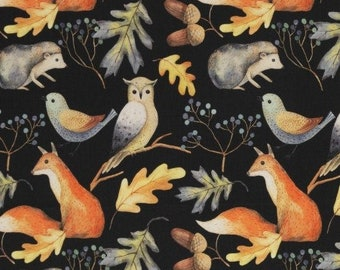 9,50 EUR/Meter Cotton Weaving Happy Harvest, Forest Animals Black 0,5 m by Swafing