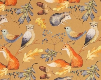 9,50 EUR/Meter Cotton Weaving Happy Harvest, Forest Animals Beige 0,5 m by Swafing
