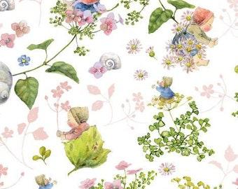 21 EUR/meter acufactum fabric flower babies pink, weaving cotton