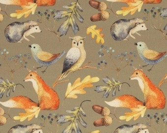 9,50 EUR/Meter Cotton Weaving Happy Harvest, Forest Animals Grey-Green 0.5 m by Swafing