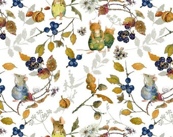 21 EUR/meter acufactum fabric Daniela Drescher hedge mice, weaving cotton. Children's material