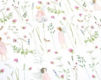 21 EUR/meter acufactum fabric Daniela Drescher Elfengarten Pink, weaving cotton. Children's material