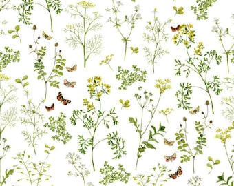 21 EUR/meter acufactum fabric Daniela Drescher herbal meadow, weaving cotton. Children's material