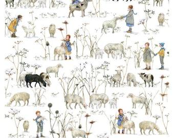 21 EUR/meter acufactum fabric Daniela Drescher Winter kids + sheep, weaving cotton