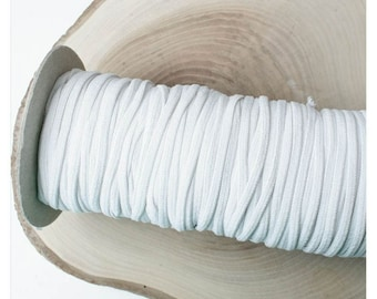 0.60 EUR/meter rubber band flat 5 mm white, 3 m