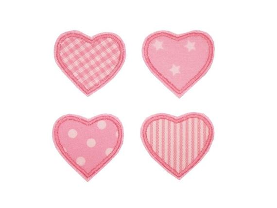 4 Herzen Set 1,25€//Stück rosa-bunt Applikation Aufnäher