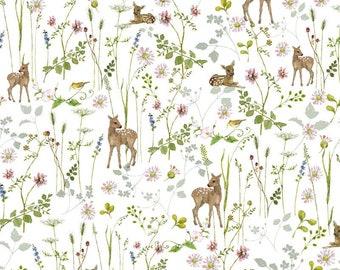 21 EUR/meter acufactum fabric Daniela Drescher Rehwiese, woven fabric cotton. Children's fabric