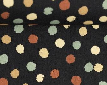 9,50 EUR/Meter Cotton Weaving Happy Harvest, Polka dots Black 0,5 m by Swafing