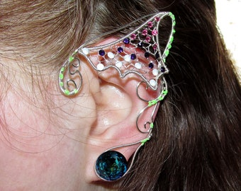 Avatar inspired jewelry, Pandora inspired ear jewelry, Bejeweled ears for Neytiri costume, Na'vi cosplay, fantasy, elf ears, fairy ears