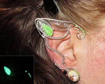 Glow in the dark ear jewelry, Avatar inspired jewelry, Pandora inspired ear jewelry, Neytiri, Na'vi cosplay, fantasy, elf ears, fairy ears