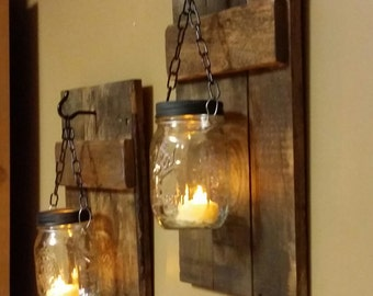Rustic Candle Holder Set Home Decor Mason Jar Candles Log Cabin Sconces Sold As A Of 2
