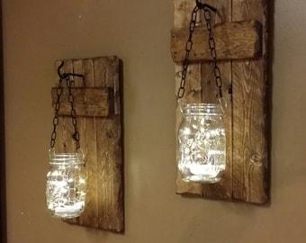 Rustic Home Decor, Rustic Candle Holders, Hanging Mason Jars Set ,  Farmhouse Decor, Rustic Decor, Lights, Rustic Sconces Set Of 2.
