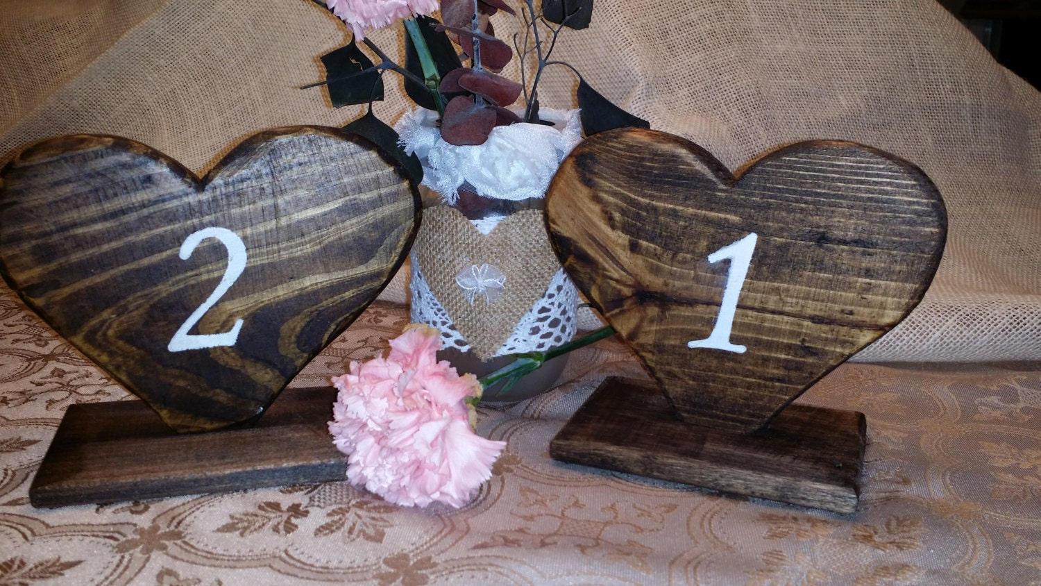Table Numbers Rustic Decor Rustic Wedding Heart table | Etsy - photo#19