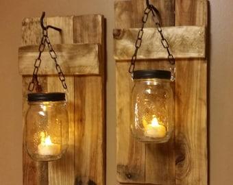 Rustic Decor, Mason Jar Candles, Hanging Candle holders, Set of Sconces, Rustic Home Decor, Mason Jar Decor, gift, Farmhouse decor