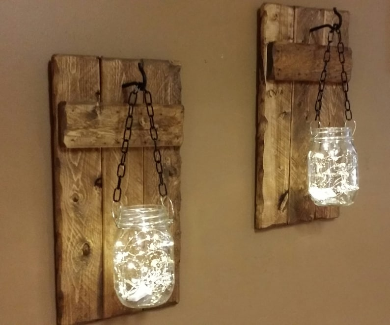 Rustic Home  Decor candle holders Rustic Wood Decor hanging image 0