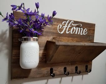 Rustic Decor, Home Decor, Key Rack  ,Home Sign,  Mail Holder, Key Holder, Mail Organizer,  Home sign,House warming, Hostess gift, Farmhouse