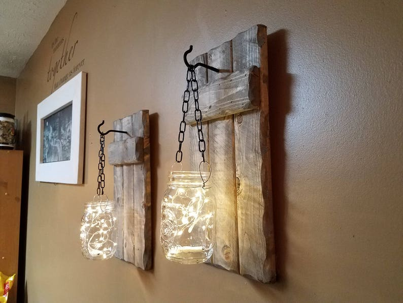 Housewarming gift wood decor sconces set of 2. Farmhouse decor Rustic decor Firefly light Rustic  Home decor Mason Jar candle holder