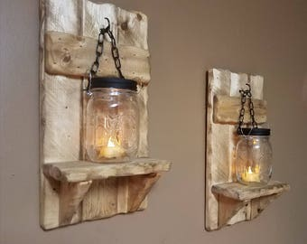 Rustic Home Decor,  Rustic Mason jar candles,Country Decor,  sconces, candle holders, lantern shelf, Mason Jar Decor, Sold as a set of 2