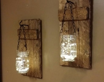 Rustic Home Decor,Candle holders, lanterns, Rustic  Decor, hanging  jars With Lights, sconces,  Firefly lights, Rustic sconces set of 2.